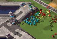 Ein Echtzeitstrategie-Gefecht mit roten und blauen Panzern, Hubschraubern und Soldaten in Klötzchenoptik