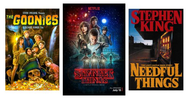 Die Verwandtschaft ist schon im Plakat unverkennbar: Stranger Things bedient sich bei Klassikern des (Kinder-)Abenteuerfilms und Horrorgenres [Bilder von Warner Bros., Netflix und Viking Press]