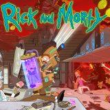 Rick and Morty Titelbild mit Serientypischer Katastrophe und Rick beim Eis essen. (Quelle: © TNT Serie)
