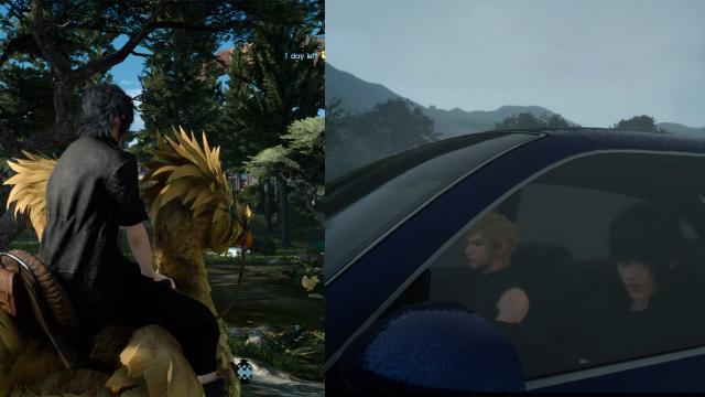 Teil 15 versucht in vielerlei Hinsicht, sowohl Neuerungen zu bringen als auch alte Spieler abzuholen. So reisen wir zwar erstmal in der Serie mit einem Auto durch die Welt, ein Ausritt auf den altbekannten Riesenvögeln, den Chocobos, ist aber weiterhin möglich. (Final Fantasy XV, 2016 - Eigene Screenshots / © Square Enix)