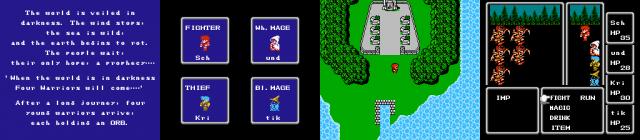 Damit fing alles auf dem NES an - simple Geschichte, einfache RPG-Archetypen, rundenbasierte Kämpfe. (Final Fantasy, 1987 - Eigene Screenshots / © Square Enix)