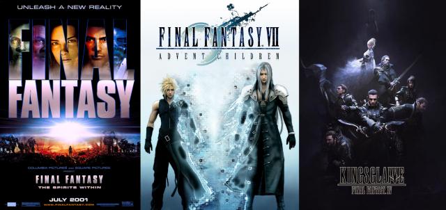 """2001 traute sich Square zusammen mit Columbia Pictures an den Film """"Final Fantasy: Die Mächte in Dir"""", einen technisch bahnbrechenden computeranimierten Film mit realistischen Figuren. Die Produktion floppte phänomenal, seitdem produziert man nur noch direkt für DVD/BluRay und Streaming. Das Sequel zu Final Fantasy VII ist bei Fans recht gut angekommen und auch der Spinoff-Film zu Final Fantasy XV, vorab als Promo veröffentlicht, überzeugt zumindest visuell. (Offizielle Plakate / © Square Enix und Publisher)"""