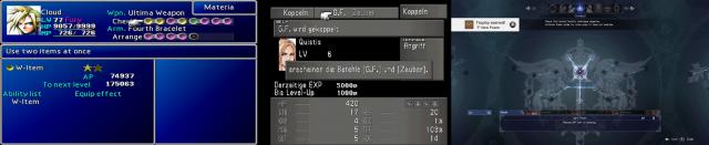 Die Systeme zur Charakterentwicklung sind für jedes Rollenspiel wichtig. Goldstandard ist das gleichzeitig intuitive und vielschichtige Materia-System aus Teil 7, bei dem Magiekügelchen miteinander kombiniert wurden. Danach folge in Teil 8 das Kopplungs-System, in das man sich erstmal hereinfinden musste. Aktuell bedient sich Teil 15 eines eher konventionellen Fertigkeitsbaums. (Final Fantasy VII, VIII und XV - Eigene Screenshots / © Square Enix)