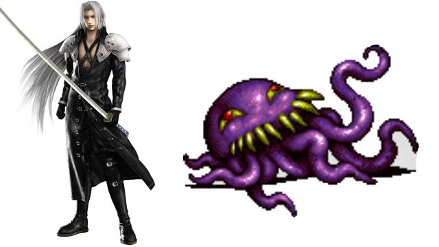 Sephiroth aus Teil 7 ist wohl der bekannteste Bösewicht der Reihe und hat auch die Tradition der todernsten Gegner mit viel Haargel begründet. Davor gab es aber auch weniger ernstgemeinte Gegner, wie z.B. Zwischenboss Ultros aus Teil 6, ein unablässig schwatzendes Krakenmonster. (Final Fantasy VI, Crisis Core: Final Fantasy VII, Offizielle Artworks/Grafiken / © Square Enix)
